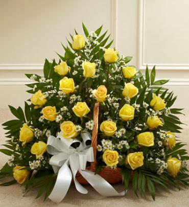 Sincerest Sympathies Fireside Basket - Yellow