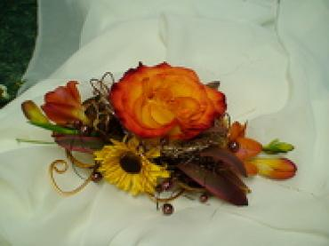 Feathers and Flowers Corsage